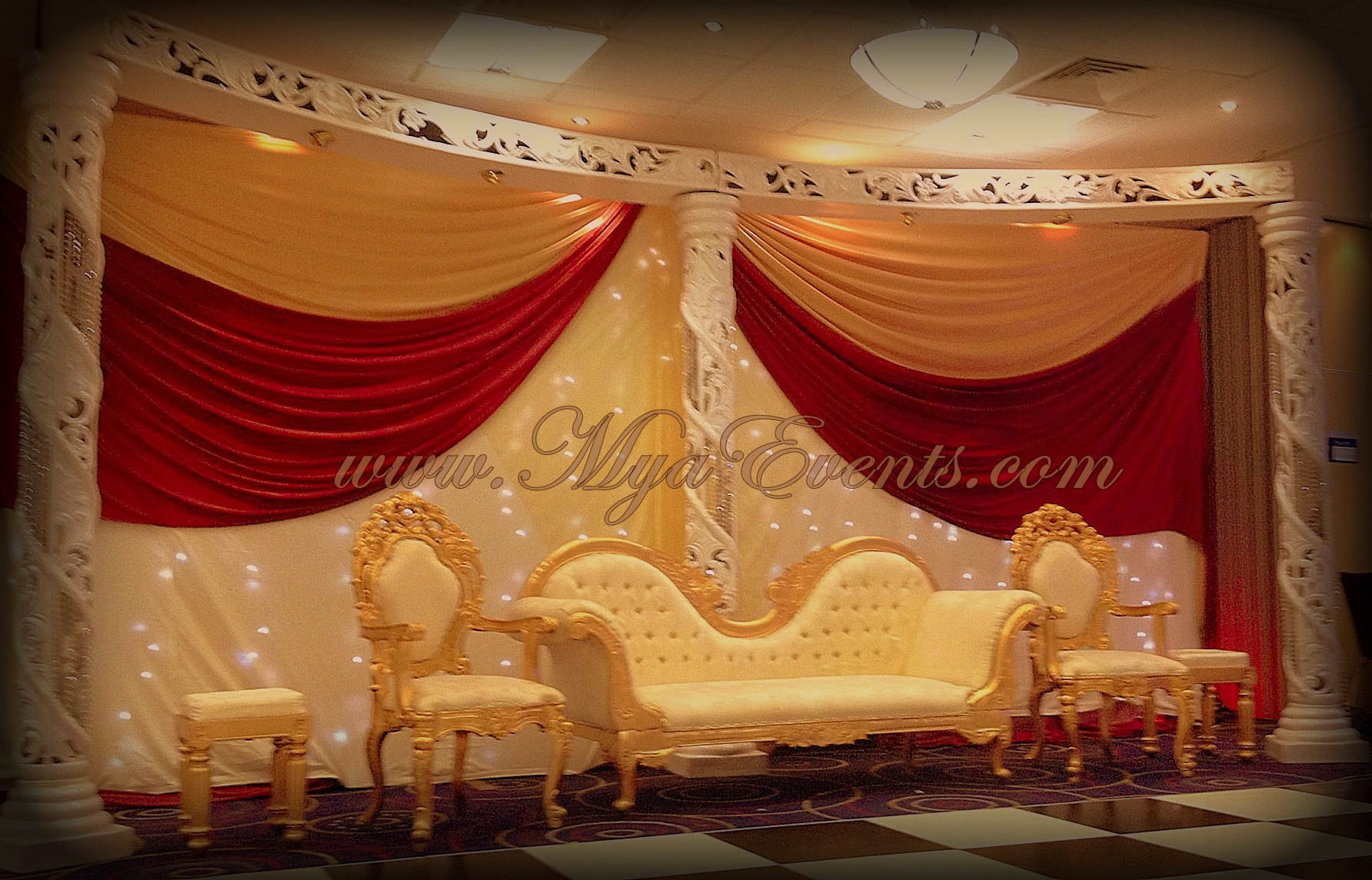 Asian wedding caterer 14 indian stage decoration hire 299 for Asian wedding decoration